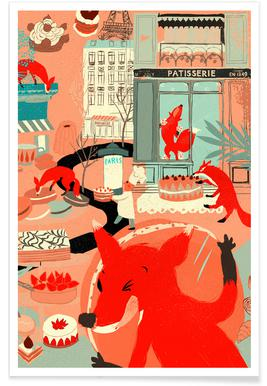 Foxy Macaron Eaters Affiche