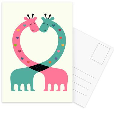 Love With Heart Postcard Set