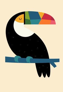 Rainbow Toucan tableau en verre