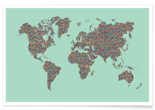 Buy World Map Drawings and Illustrations Online | JUNIQE UK on