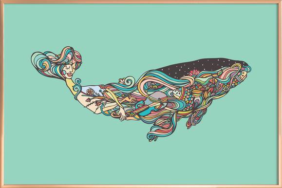 Whale -Poster im Alurahmen