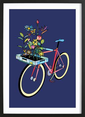 Bike and Flowers Framed Print