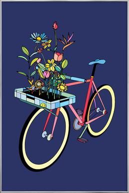 Bike and Flowers -Poster im Alurahmen