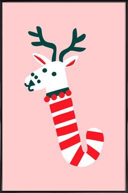 Peppermint Deer Framed Poster