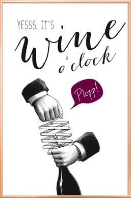 Wine o'clock affiche sous cadre en aluminium