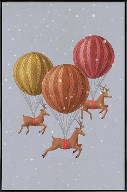 Flight of the deer Framed Poster