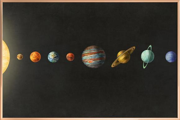 solar system as poster in wooden frame by terry fan juniqe