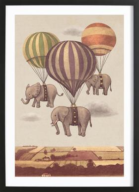 Flight of the Elephants Affiche sous cadre en bois