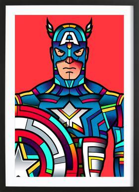 Captain America Poster im Holzrahmen