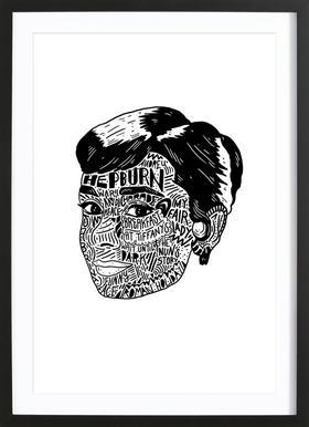 Audrey Poster im Holzrahmen