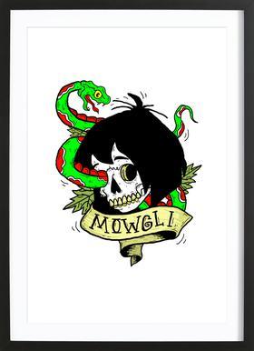 Mowgli affiche sous cadre en bois