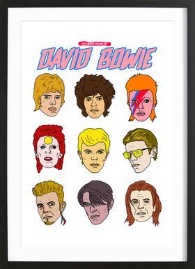 Bowie 2 Poster im Holzrahmen