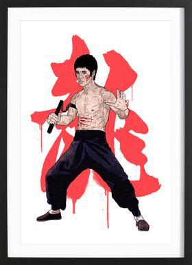 Bruce Lee Poster im Holzrahmen