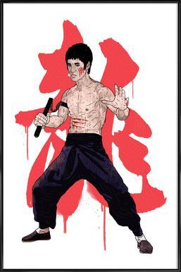 Bruce Lee -Bild mit Kunststoffrahmen