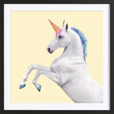 Ice Cream Unicorn -Bild mit Holzrahmen
