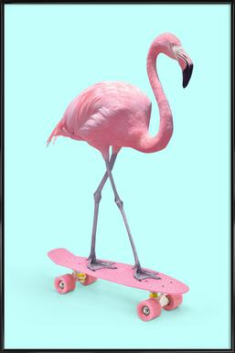 Skate Flamingo Affiche sous cadre standard