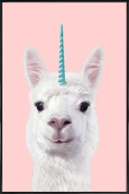 Alpaca Unicorn -Bild mit Kunststoffrahmen