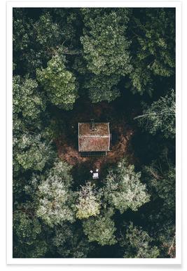 Hutte cachée - Photo aérienne affiche