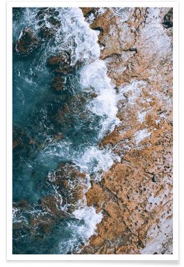 Rotsachtige golven - luchtfotografie poster