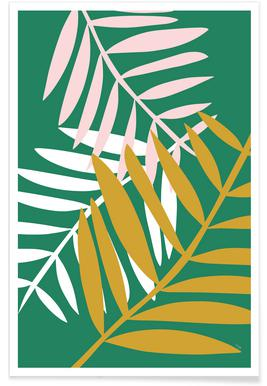 Palm Leaves in Green Poster