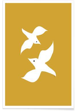 Birds in Mustard Affiche