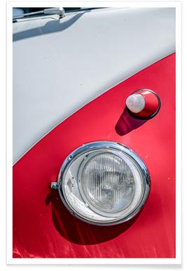 Volkswagen Red and White Photograph Poster