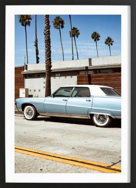 Buick Blue Poster im Holzrahmen