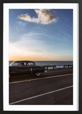 Cadillac Sunset Cruise II Poster in houten lijst
