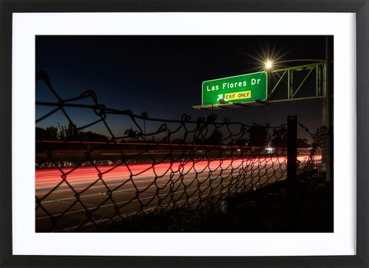 Interstate 5 Sunset Poster in Wooden Frame