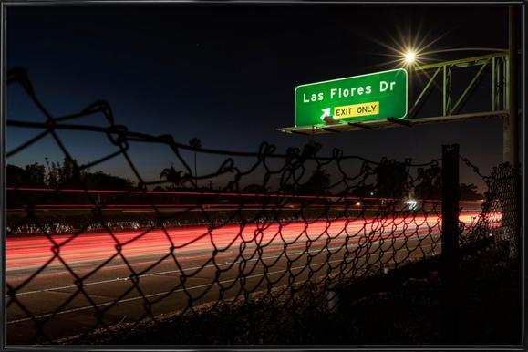 Interstate 5 Sunset Poster in kunststof lijst