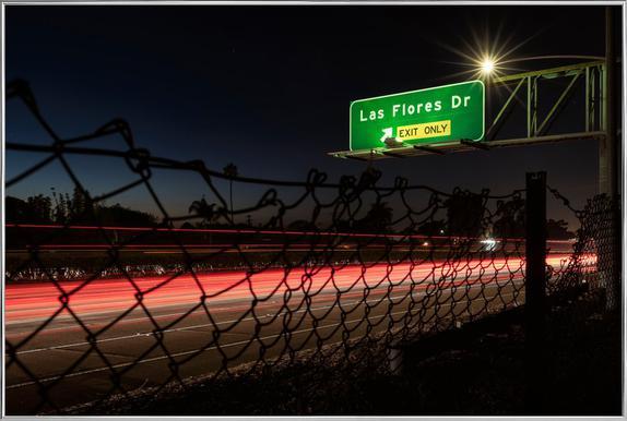 Interstate 5 Sunset Poster in Aluminium Frame