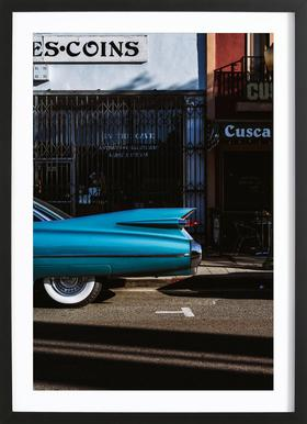 Turquoise Fins Poster in Wooden Frame