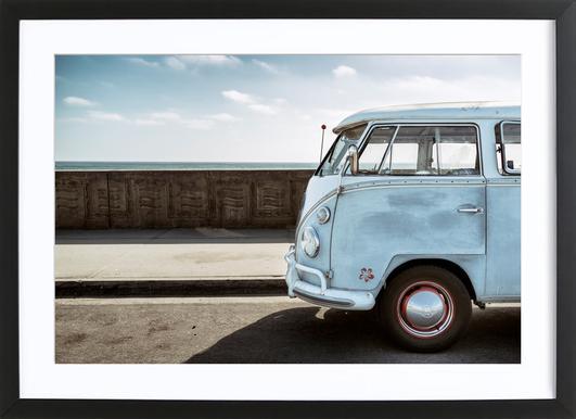 Wolfsburg Surf Blue Horizon -Bild mit Holzrahmen