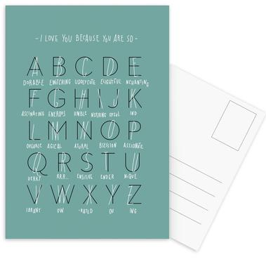 Alphabet of Love cartes postales