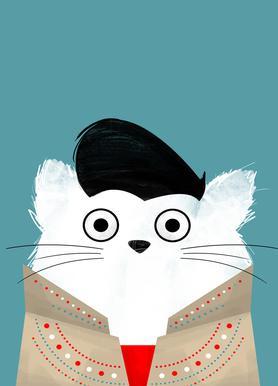Cat - Elvis Impression sur toile