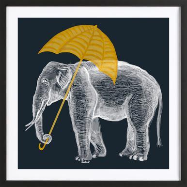 Elephant with Umbrella Affiche sous cadre en bois