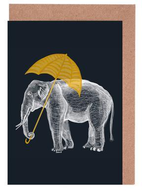 Elephant with Umbrella Set de cartes de vœux