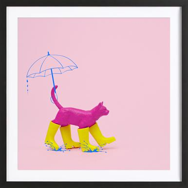 Puss in [Rain] Boots Poster in Wooden Frame