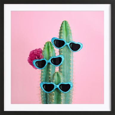 Cactus Sunglasses Affiche sous cadre en bois