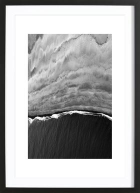 Black Ocean Poster im Holzrahmen