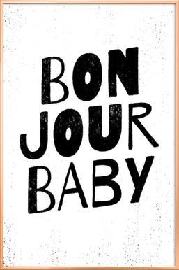 Bonjour Baby poster in aluminium lijst