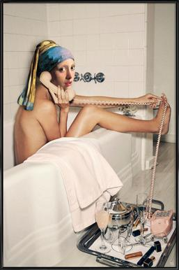 Girl with Pearl Earring Bath time ingelijste poster
