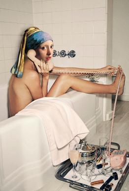 Girl with Pearl Earring Bath time acrylglas print