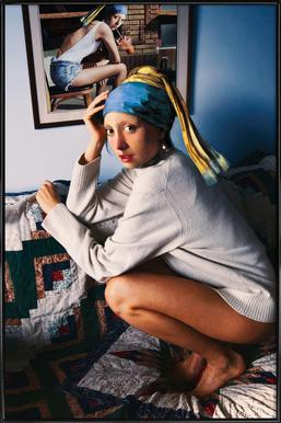 Girl with Pearl Earring Double Affiche sous cadre standard