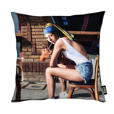 Girl with Pearl Earring Chillout Mode Cushion