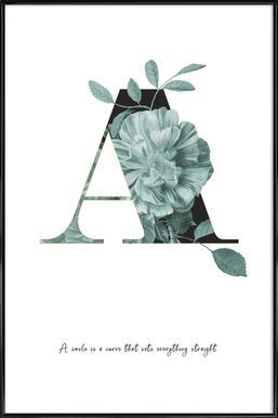 Flower Alphabet - A affiche encadrée