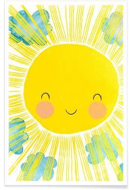 Zon kinderkamer illustratie poster