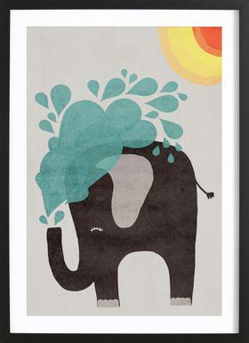 Funny Elephant 2 Affiche sous cadre en bois
