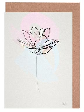 One Line Lotus Set de cartes de vœux