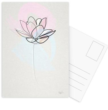 One Line Lotus cartes postales